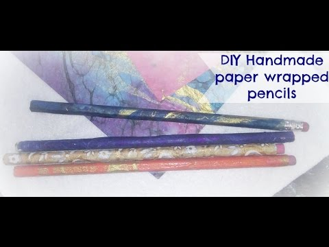 How to make handmade paper wrapped pencils/ DIY Paper wrapped pencils