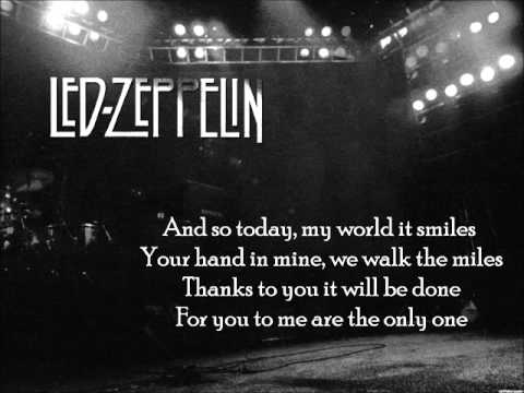 Led Zeppelin~~Thank you~~Lyrics on screen