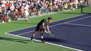 Roger Federer & Genie Bouchard practising at the BNP Paribas Open