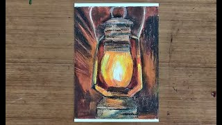Oil Burning Lantern with Oil Pastels | Still Life Painting Lesson