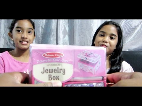Kids decorate wooden jewelry box Melissa Doug wooden jewelry box