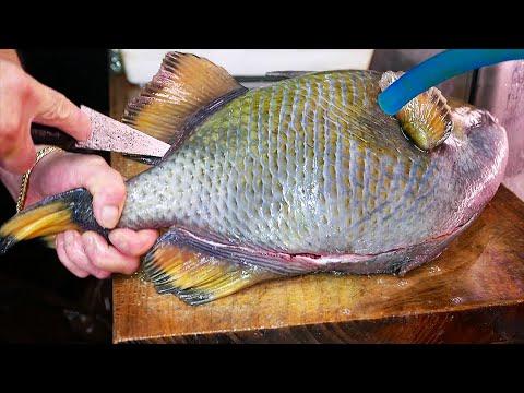 Japanese Street Food - GIANT TRIGGER FISH Dipping Noodles Okinawa Seafood Japan