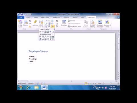 how to create a word document with fillable fields