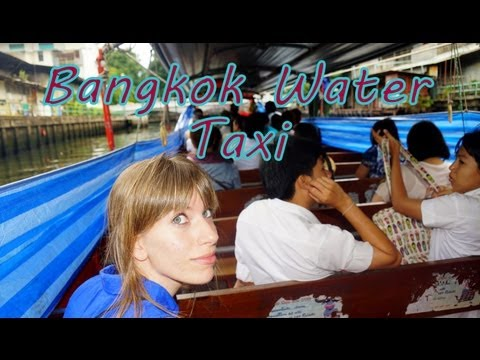 Bangkok Water Taxi Boat Ride along a canal nearby Chao Phraya River to visit Wat Saket Temple