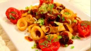 Calamari With Tomato, Cilantro, Chipotle Sauce Recipe