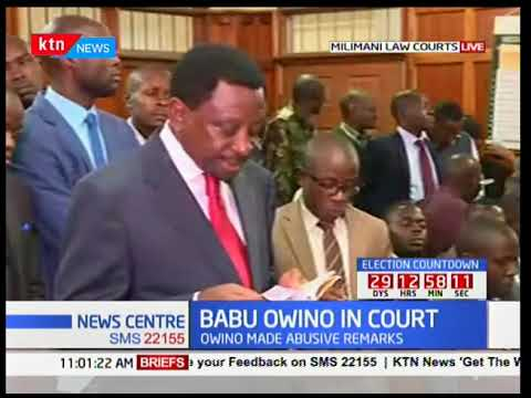 James Orengo addressing the court representing Babu Owino after making abusive remarks
