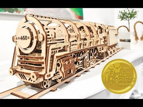 Ugears 3D Railway: Steam Locomotive with Tender + Rails with Crossing + Platform