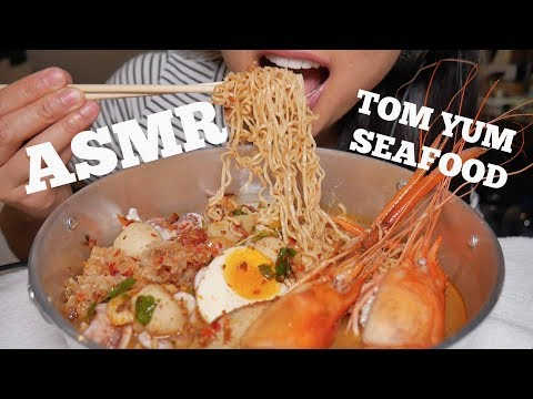 ASMR THAI SPICY TOM YUM SEAFOOD Noodle Soup (EATING SOUNDS)   SAS-ASMR