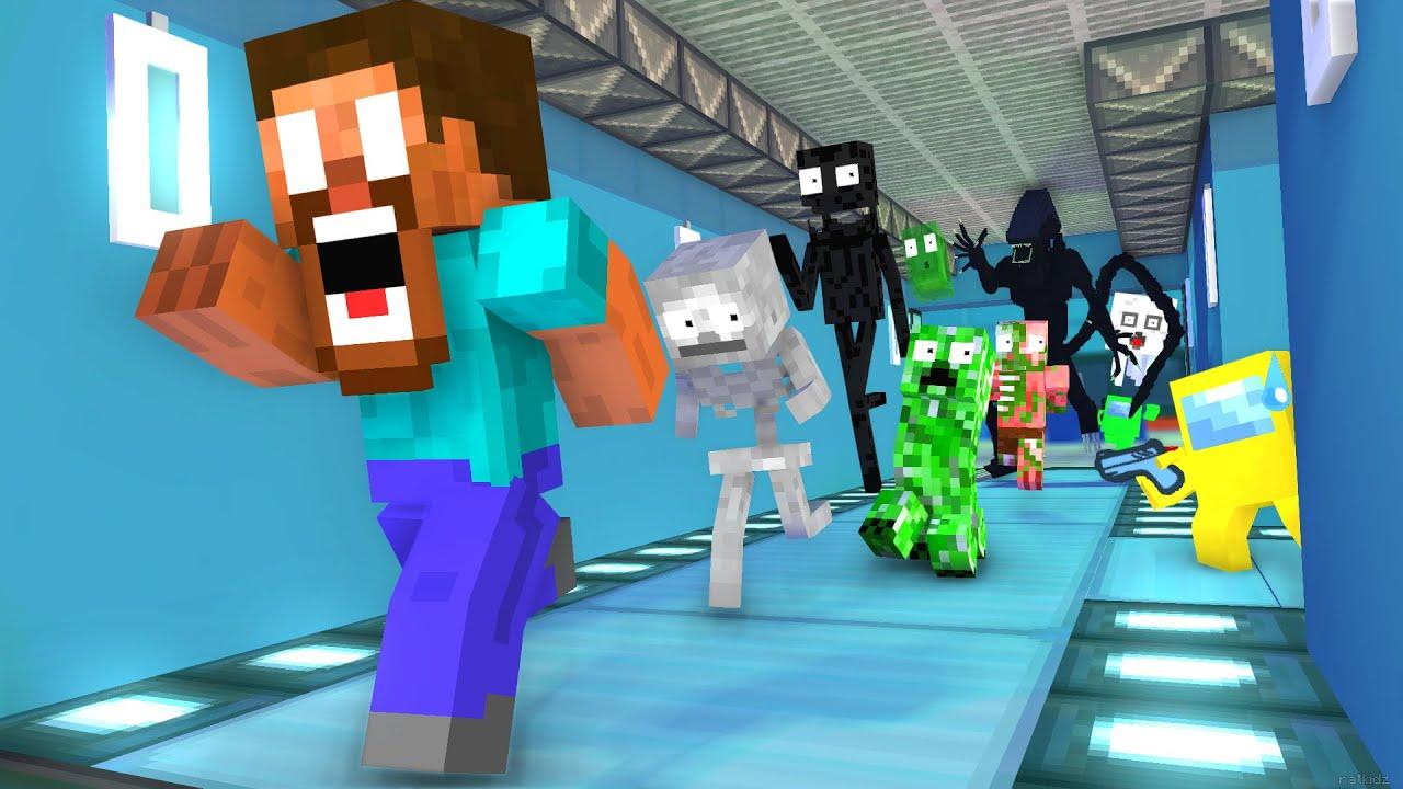 Monster School :  AMONG US ALIEN IMPOSTOR APOCALYPSE ATTACK ESCAPE - Minecraft Animation