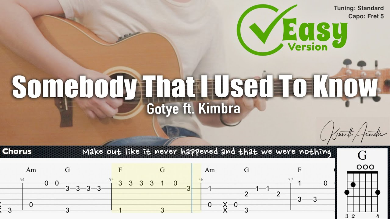 Somebody That I Used To Know (Easy Version) - Gotye ft. Kimbra   Fingerstyle Guitar