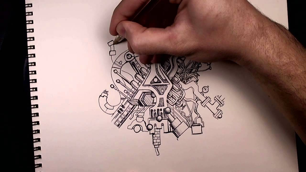 Bic Pen Doodle The Mechanical Mistake 30x Speed Youtube