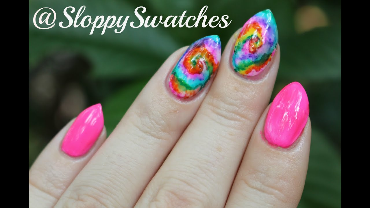 Tie Dye Sharpie Watercolor Nail Tutorial