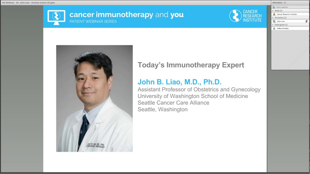 Advances In Immunotherapy For Ovarian Cancer With Dr John Liao Youtube