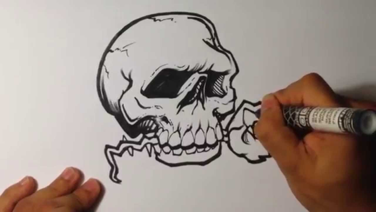 Awesome Tattoo Design Skull With Rose Skull Drawings Youtube