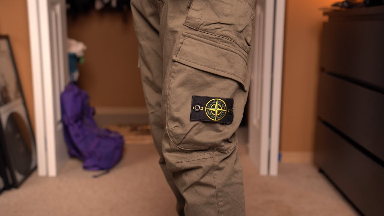 Stone Island Cargo Pants Review On Body Wool Satin Olive Green