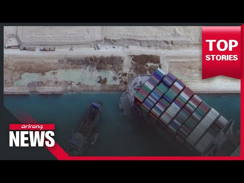 Crews refloat stranded ship in Suez Canal