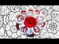DIY Пышный цветок канзаши из атласной ленты мастер класс