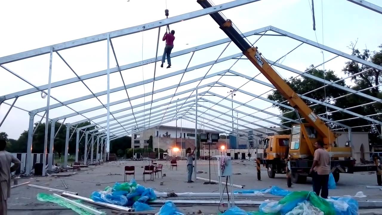30 meter 100 feet Marquee Tent Frame Installation by Mr.Rizwan ...