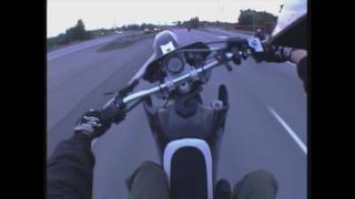 6km supermoto highway wheelie by old school Bomber