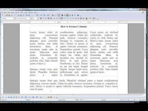 How To Format Columns In Open Office Writer