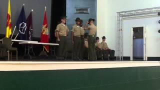Sgt Rethage receiving his Drill Instructor Cover