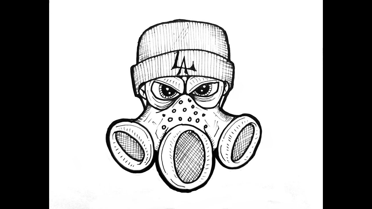 How to draw gas mask crazy character