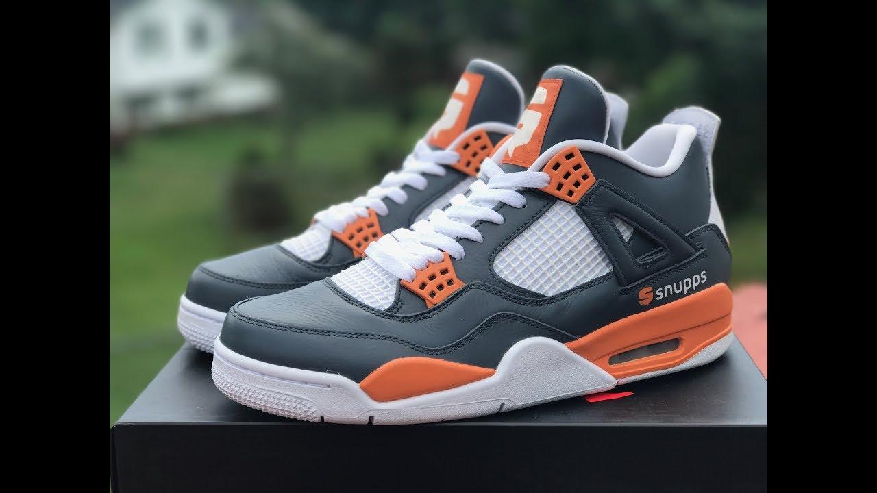 70572a8a2608 Jordan 4 Snupps Custom Close-Up And On Feet - YouTube