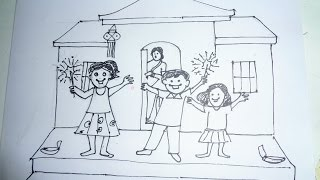 How To Draw A Diwali Scene 2014