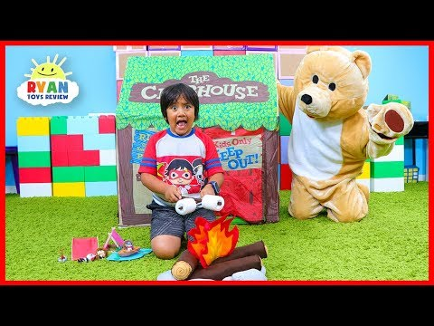 Ryan Pretend Play Camping Adventure With A Bear!!!