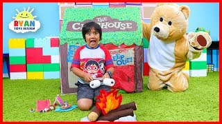 Ryan Pretend Play Camṗing Adventure with a Bear!!!