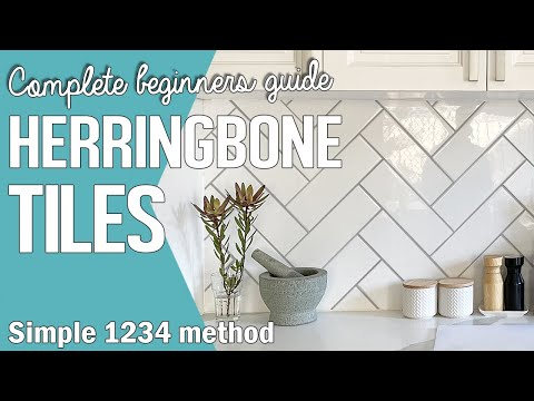 How to lay Herringbone Tiles Pattern using White Subway Tiles | Chevron Wall Tile Kitchen Backsplash