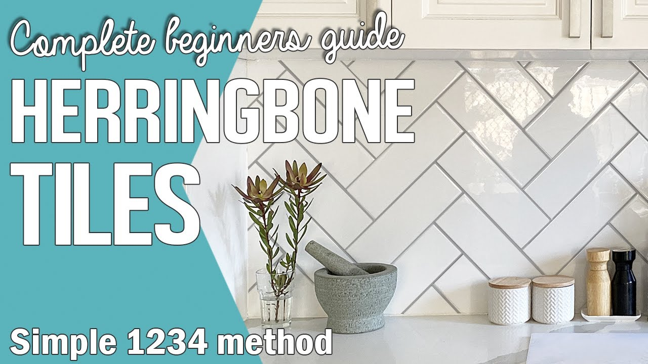 How To Lay Herringbone Tiles Pattern Using White Subway Tiles Chevron Wall Tile Kitchen Backsplash Youtube