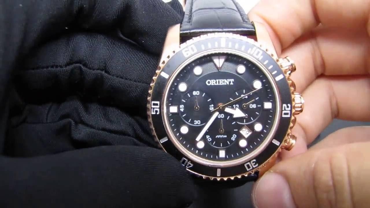d3b7466a2a27c Relógio Masculino Orient MRSCC006 Estilo Submariner Rosê Pulseira de Couro  - Detalhes - YouTube