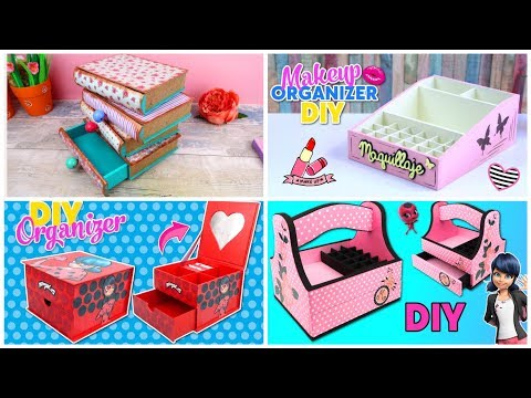 4 Cardboard organizers ideas for teenagers. Room Decor DIY for teenage girls