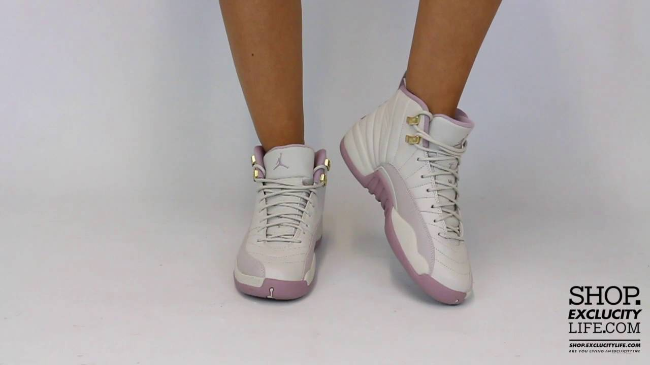 bd3d17360f24 Women s Air Jordan 12 Retro GG Plum Fog On feet Video at Exclucity - YouTube