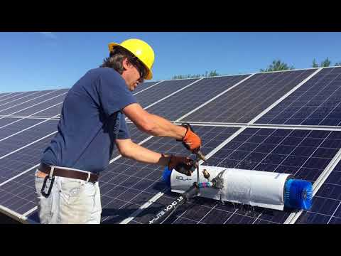 Solar panel cleaning-ground mount