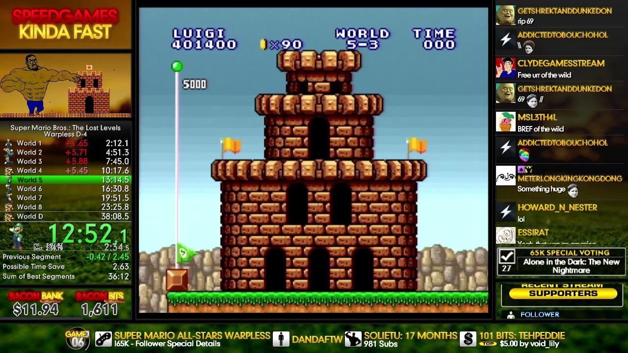 (37:55 1) Super Mario Bros : The Lost Levels Warpless% D-4 (SNES, Luigi) PB  / Former World Record