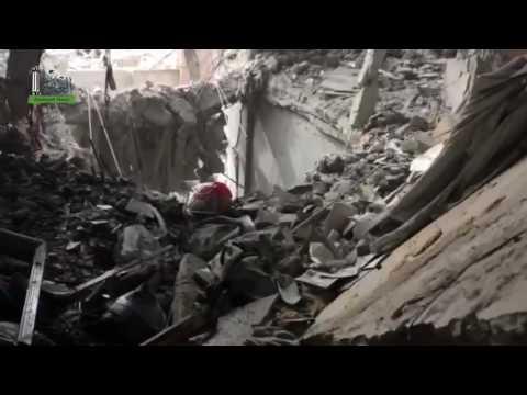 مخلفات قصف طائرات الأسد ومدفعيته في الوعر