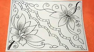 Cara Menggambar Bunga Motif Batik #35