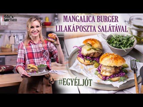 Mangalica Burger Lilakáposzta Salátával