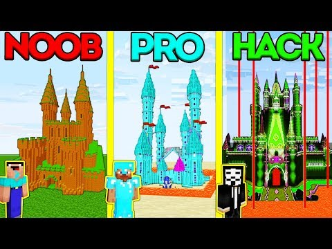 Minecraft Battle: NOOB vs PRO vs HACKER: SAFEST CASTLE BASE CHALLENGE in Minecraft Animation