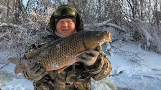 РЫБАЛКА НА ХАПУГИ и ПРОВЕРКА СЕТЕЙ В -35!!! ЩУКА,САЗАН,ЛЕЩ!!!Первая рыбалка 2021!!!