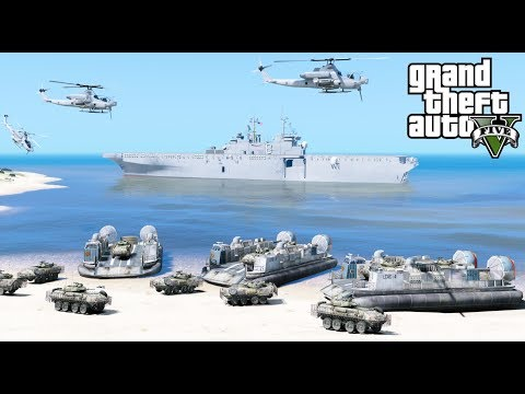 GTA 5 Mods - US Navy & Marine Amphibious Assault Beach Landing With LCAC Hovercraft & Air Support