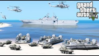 GTA 5 Mods - US Navy & Marine Amphibious Assault Beach Landing With LCAC Hovercraft & Air Support
