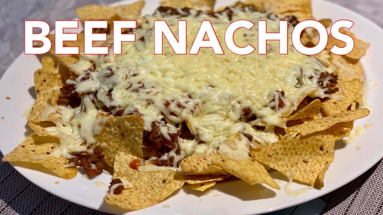 EASY BEEF NACHOS RECIPE   MOZZARELLA CHEESE