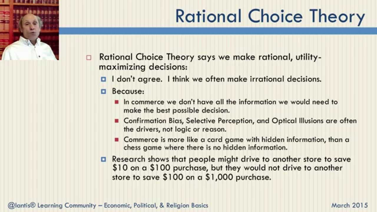 major tenets and usefulness of rational choice theory Rational choice theory, also called rational action theory or choice theory, school of thought based on the assumption that individuals choose a course of action that is most in line with their personal preferences.