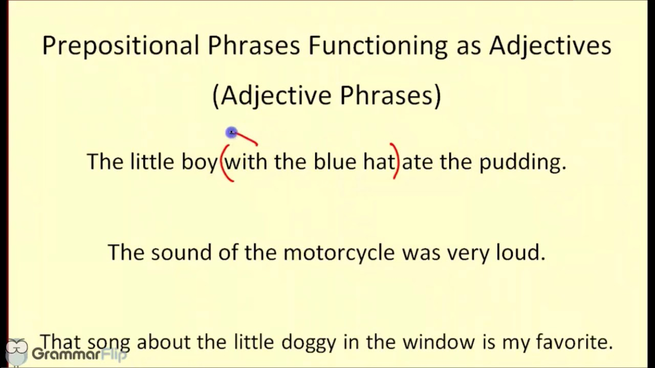 Prepositional Phrases Functioning As Adjectives Phrases - Grammar Lesson  Trailer