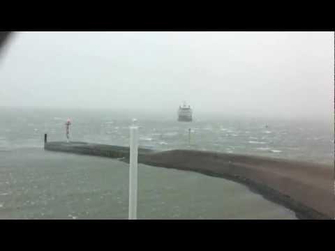 Texel Teso Veerboot in zware storm op Texel tot 12bft 3-1-2012 Dokter Wagemaker