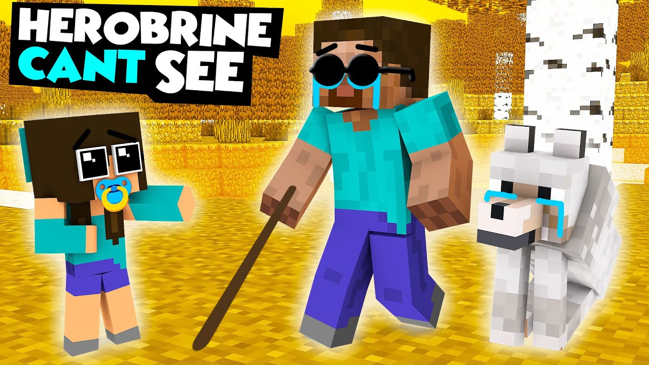 Monster School : BABY HEROBRINE CAN'T SEE CHALLENGE - Minecraft Animation