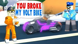 Today a cop breaks my $1MILL volt bike in Roblox Jailbreak roleplay...